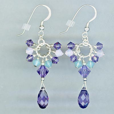 Cluster Crystal Earrings purple