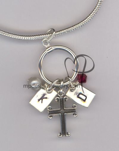 Custom Mother's - Grandmother's Hand Stamped Swarovski Crystal Sterling Silver Charm Necklace