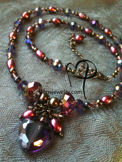 Passion ~ Purple Crystal Heart Pearl Cluster Necklace