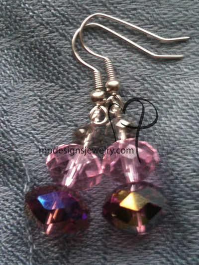 big,bold, and beautiful pink purple crystal short stack silver earrings