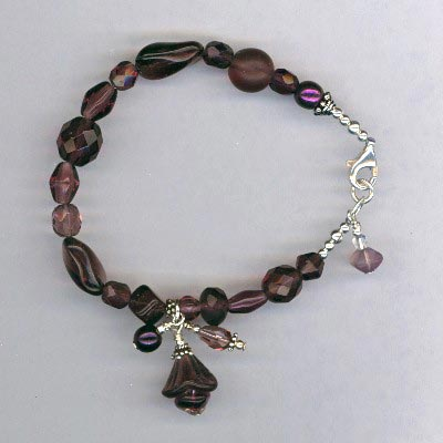 purple glass SS bracelet