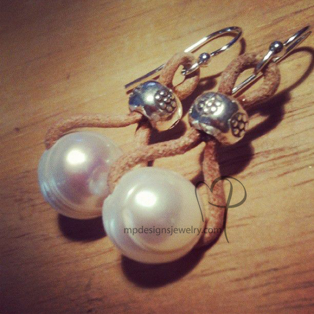 Embrace ~ Freshwater Pearl Leather Sterling Silver Earrings