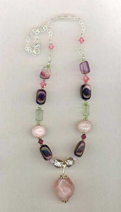 rose quartz amethyst necklace