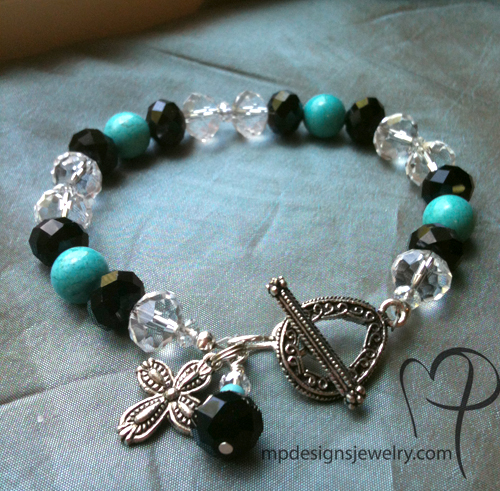 Turquoise Treasure ~ Gemstone Black Crystal Beaded Bracelet