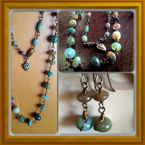 Fancy Jasper Brass Necklace/Earring Jewelry Set