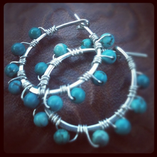 Twisted Turquoise  - Sterling Silver Gemstone Hoop Earrings