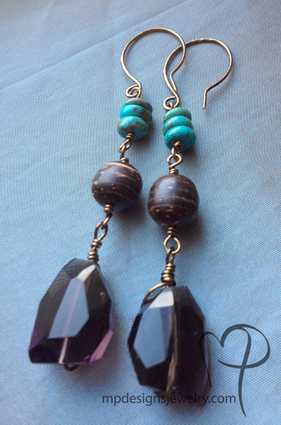Bohemian Gemstone Vintaj Brass Earrings