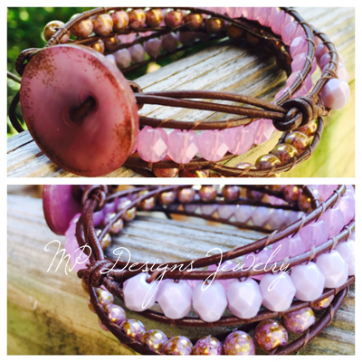 Purple Orchip leather wrap bracelet
