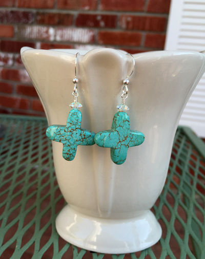 Faith ~ Turquoise Cross Earrings