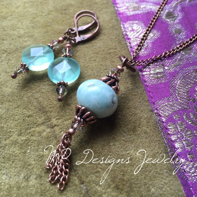 Green/Blue Gemstone Copper Earring/Necklace Set