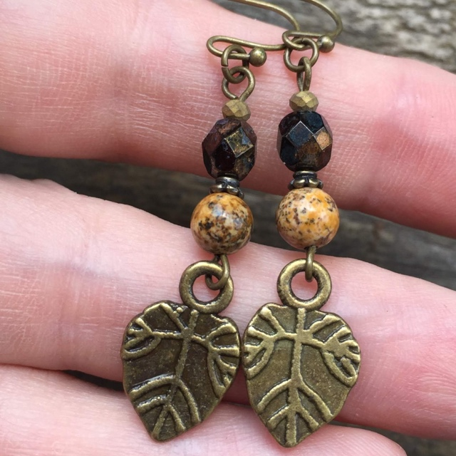 Fall leaves gold stack earrings