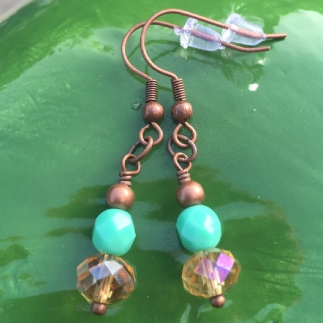 Turquoise Topaz copper short stack earrings