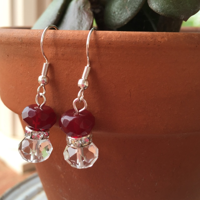Holiday Sparkle Red Crystal Silver Earrings