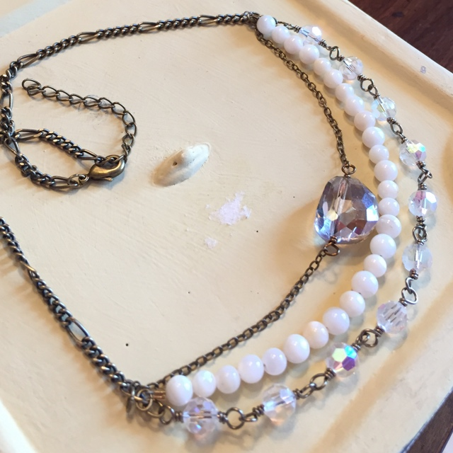 Vintage Crystal Pearl Gold Layered Necklace