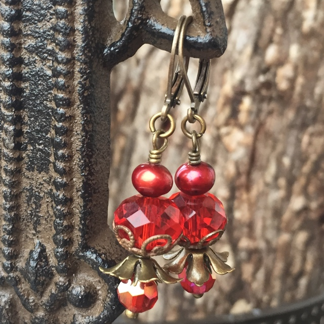 Victoria Valentine Red Crystal Antiqued Gold Earrings