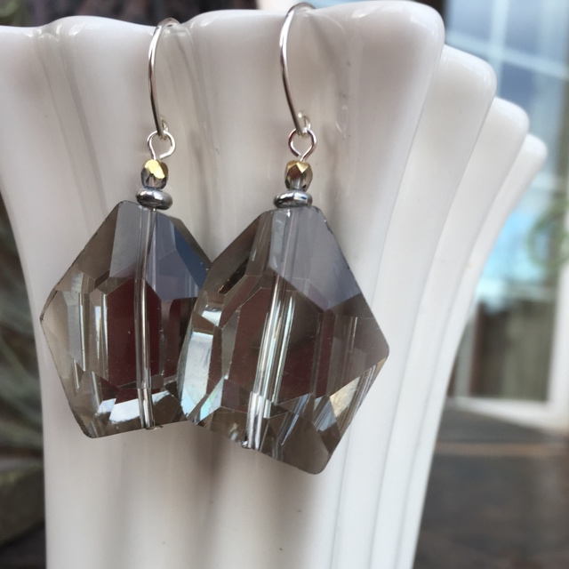 Smokey Czech Crystal Nugget Sterling Silver Earrings
