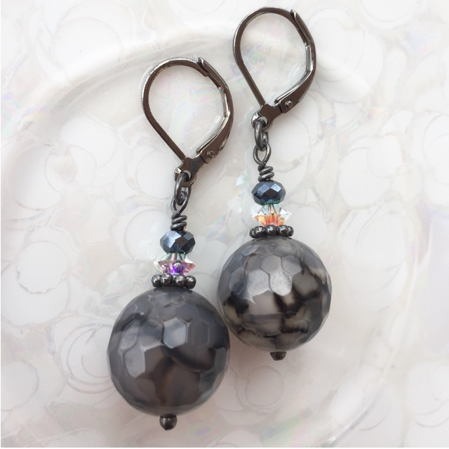 Silver Crazy Lace Agate Gemstone Crystal Black Earrings