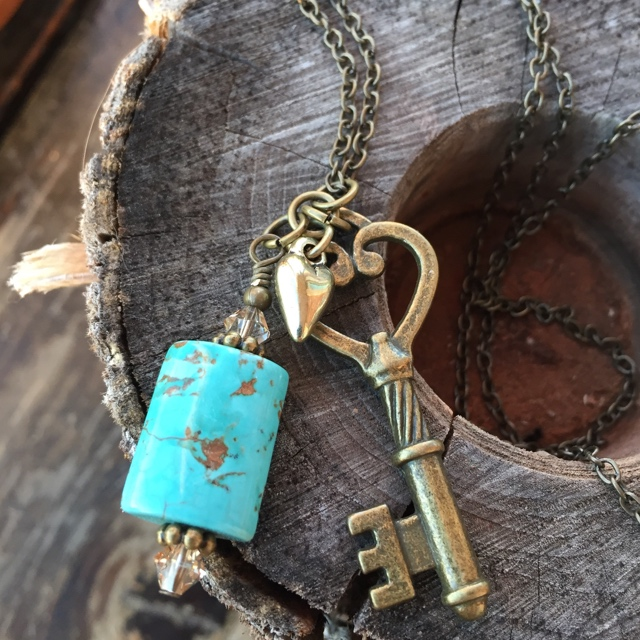 Bohemian Beauty Turquoise key charm necklace
