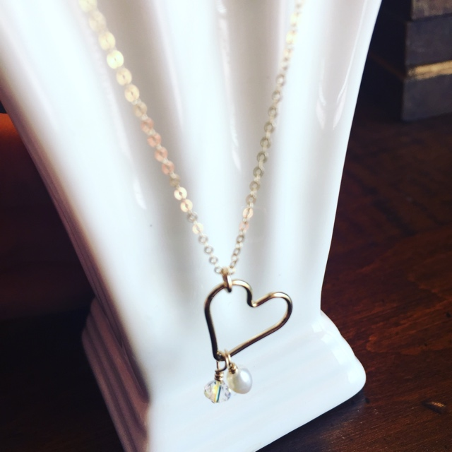 Open Heart Gold Necklace with Custom Charms