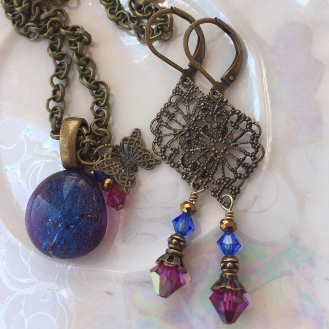 Gypsy blue necklace earring set