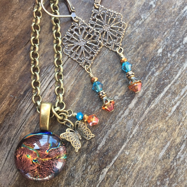 Gypsy Copper Gold Necklace earrings set