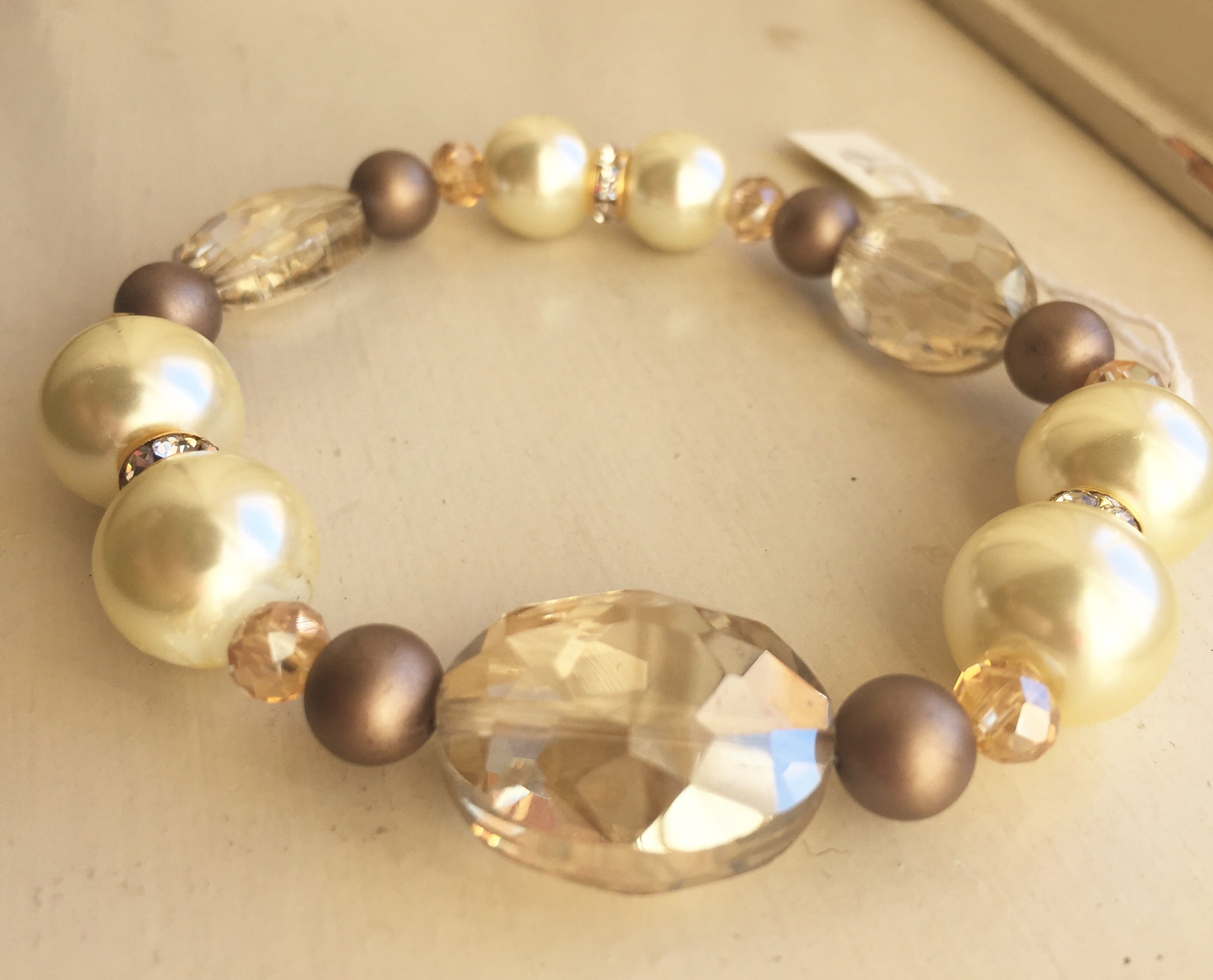 High Tea Pearl Crystal Stretch Bracelet