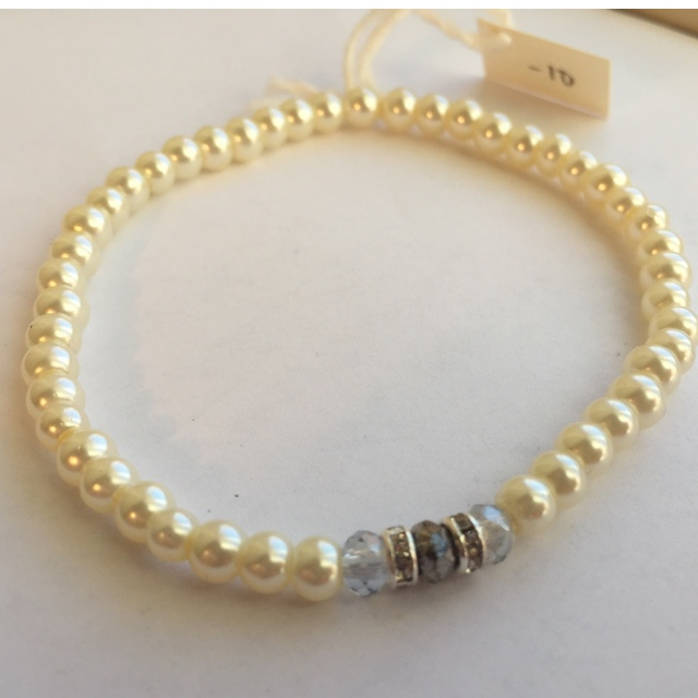 Creamy White Mini Pearl Stretchy Stacking Bracelet