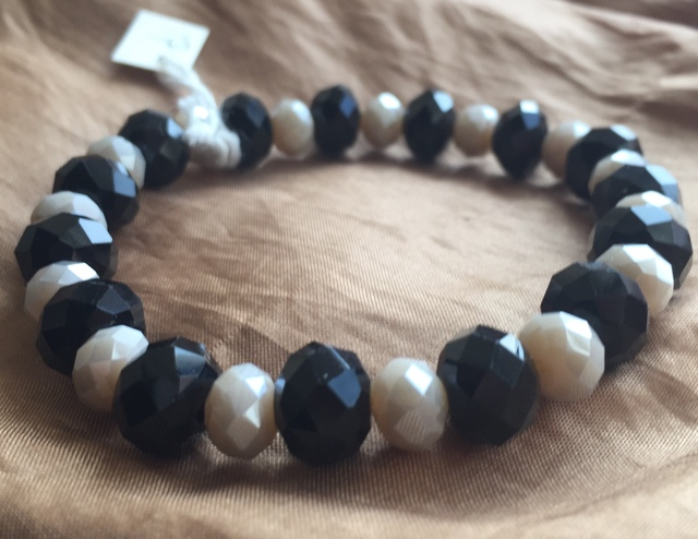 Jet Black Creamy Vanilla Crystal Stretch Stacking Bracelet