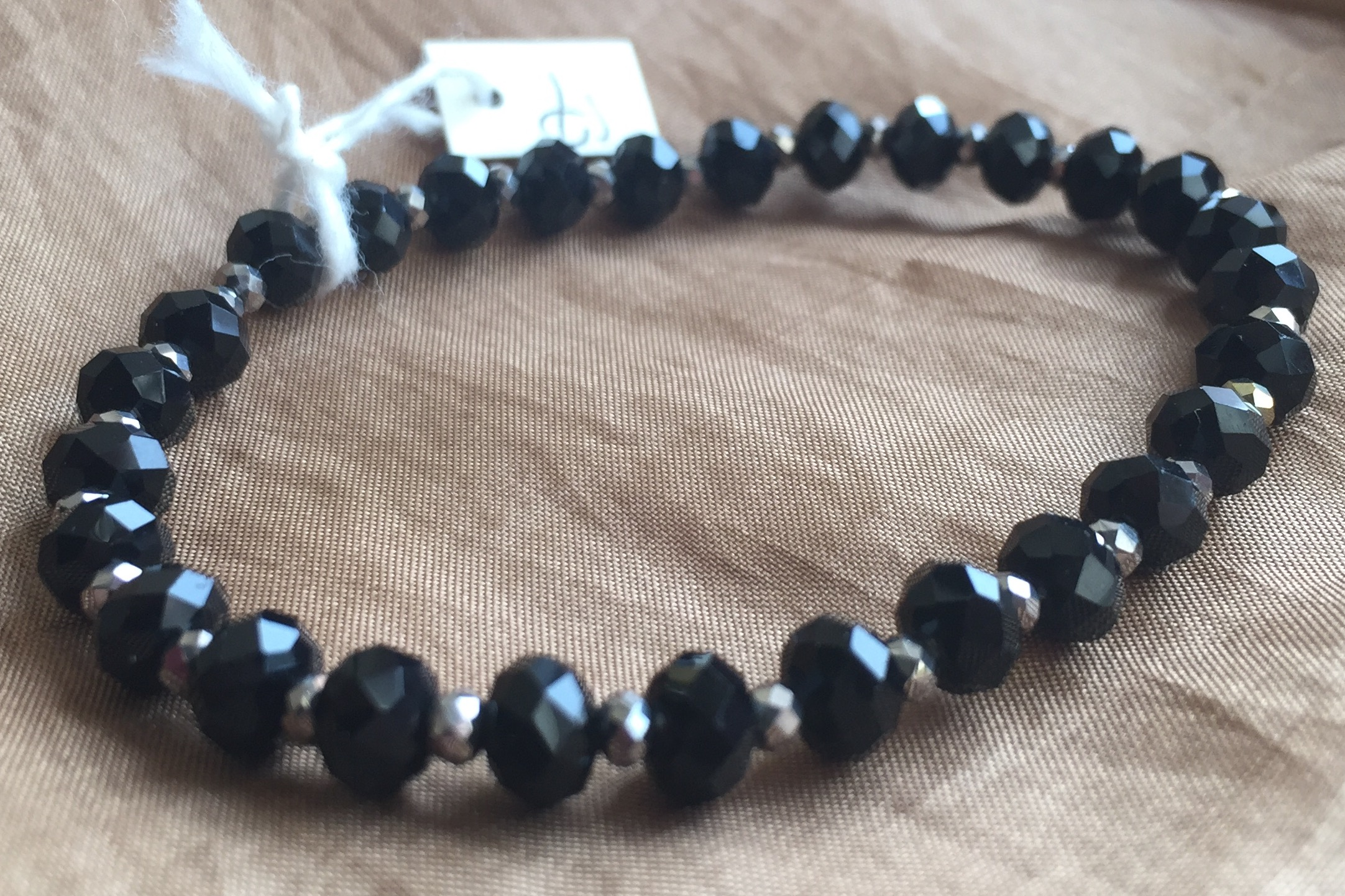 Jet Black Silver Crystal Stretchy Stacking Bracelet