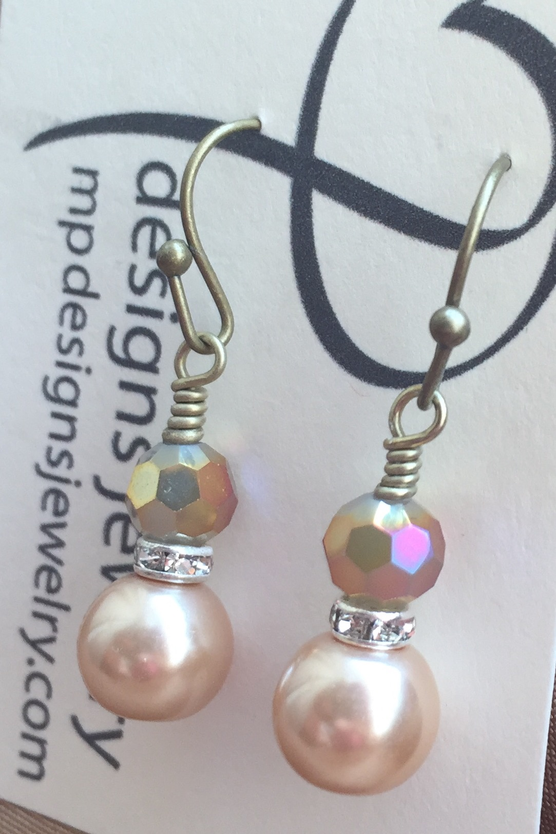 Vintage Vanilla Pearl Opaque Crystal Antiqued Gold Earrings