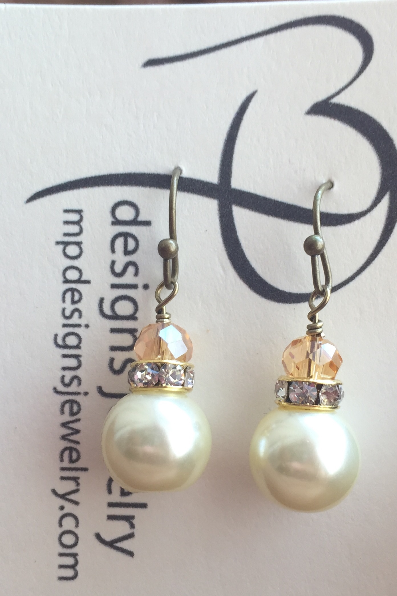 Creamy White Pearl Mini Topaz Antiqued Gold crystal Earrings
