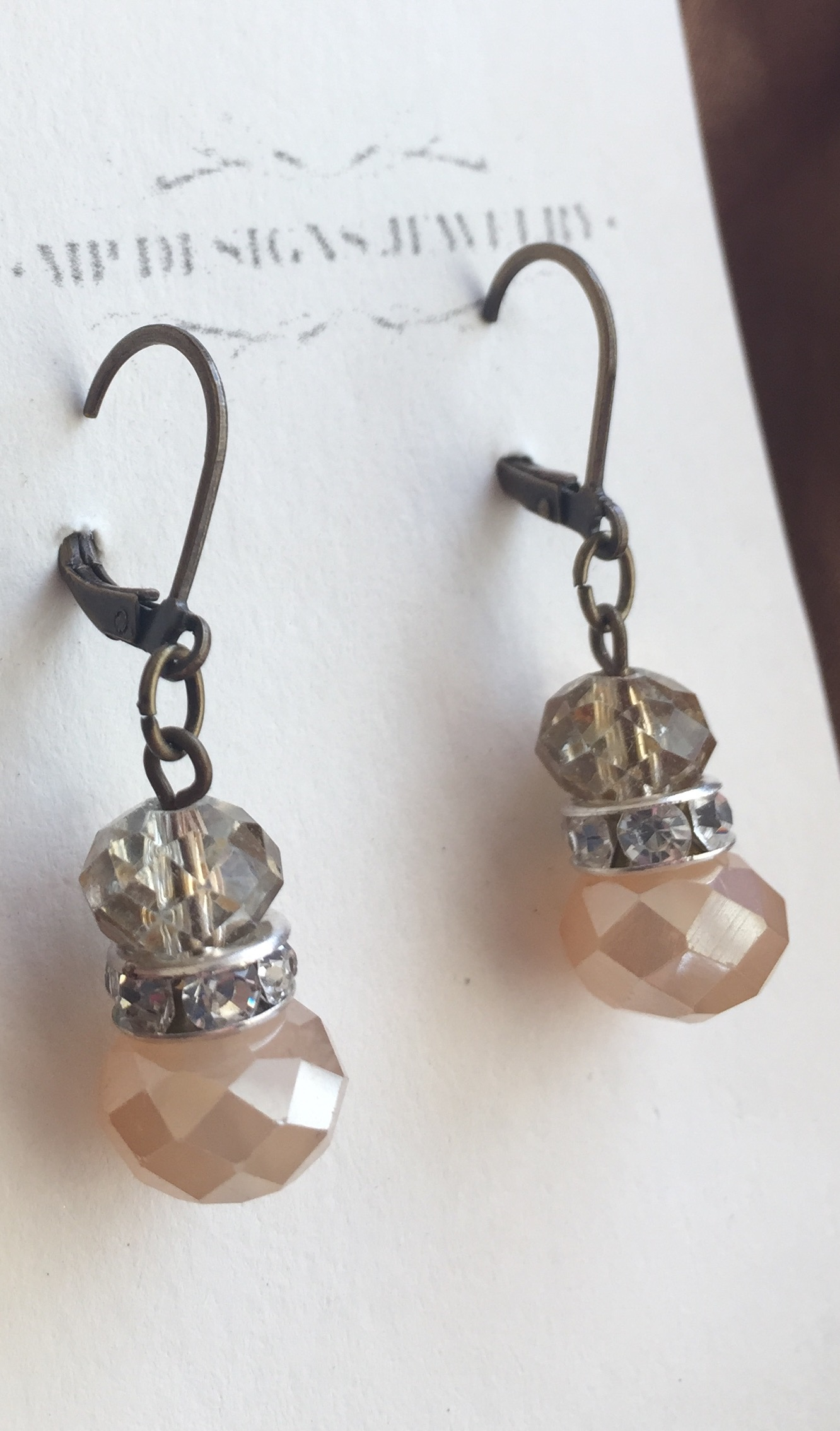Opaque Gold Antiqued Crystal Earrings