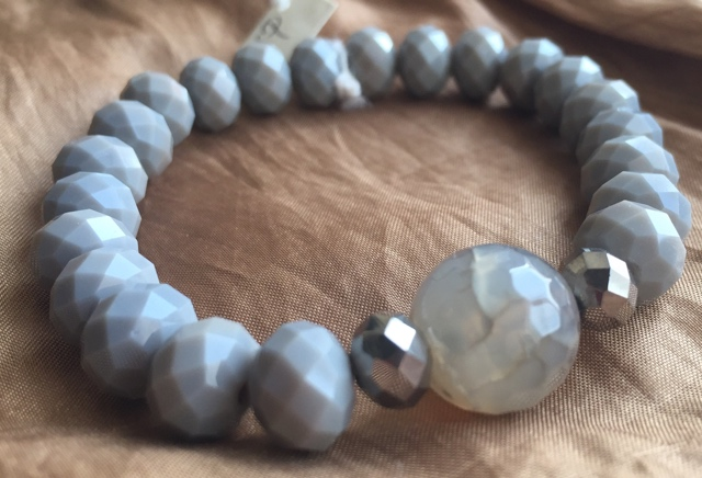 Opaque Grey Silver Gemstone Crystal Stretch Stacking Bracelet