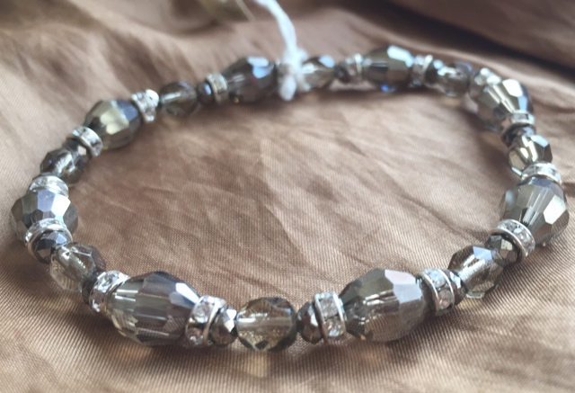 Fancy Smokey Grey Crystal Stretch Stacking  Bracelet