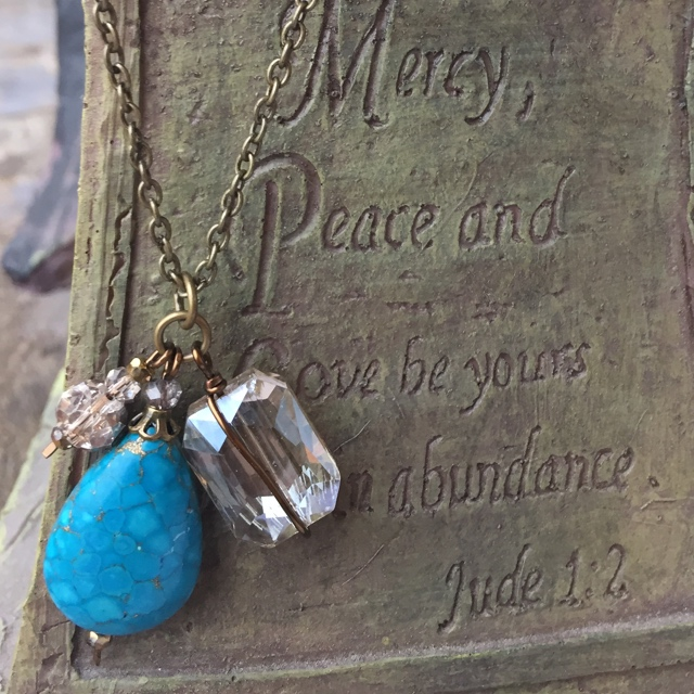 Blue Mosaic Turquoise Crystal Charm Brass Gold Necklace
