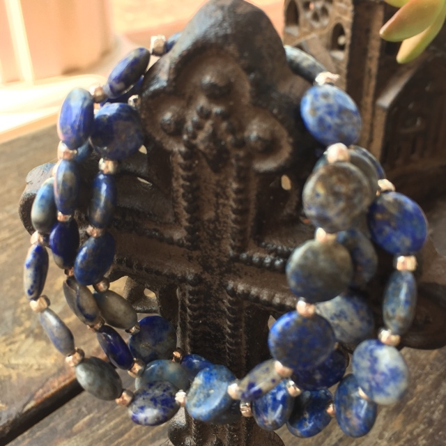 Lapis Lazuli Blue Gemstone Stretch Stacking Bracelet