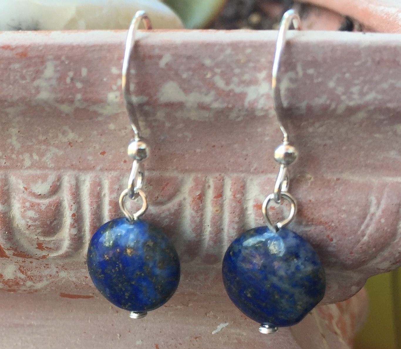 Lapis Lazuli Gemstone Sterling silver round earrings