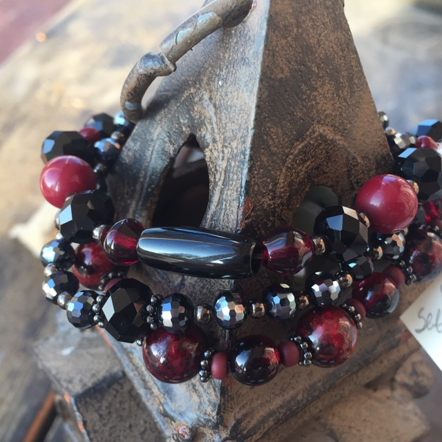 Cranberry Red Freshwater Pearl Black Crystal Stretch Stacking Beaded Bracelet Set