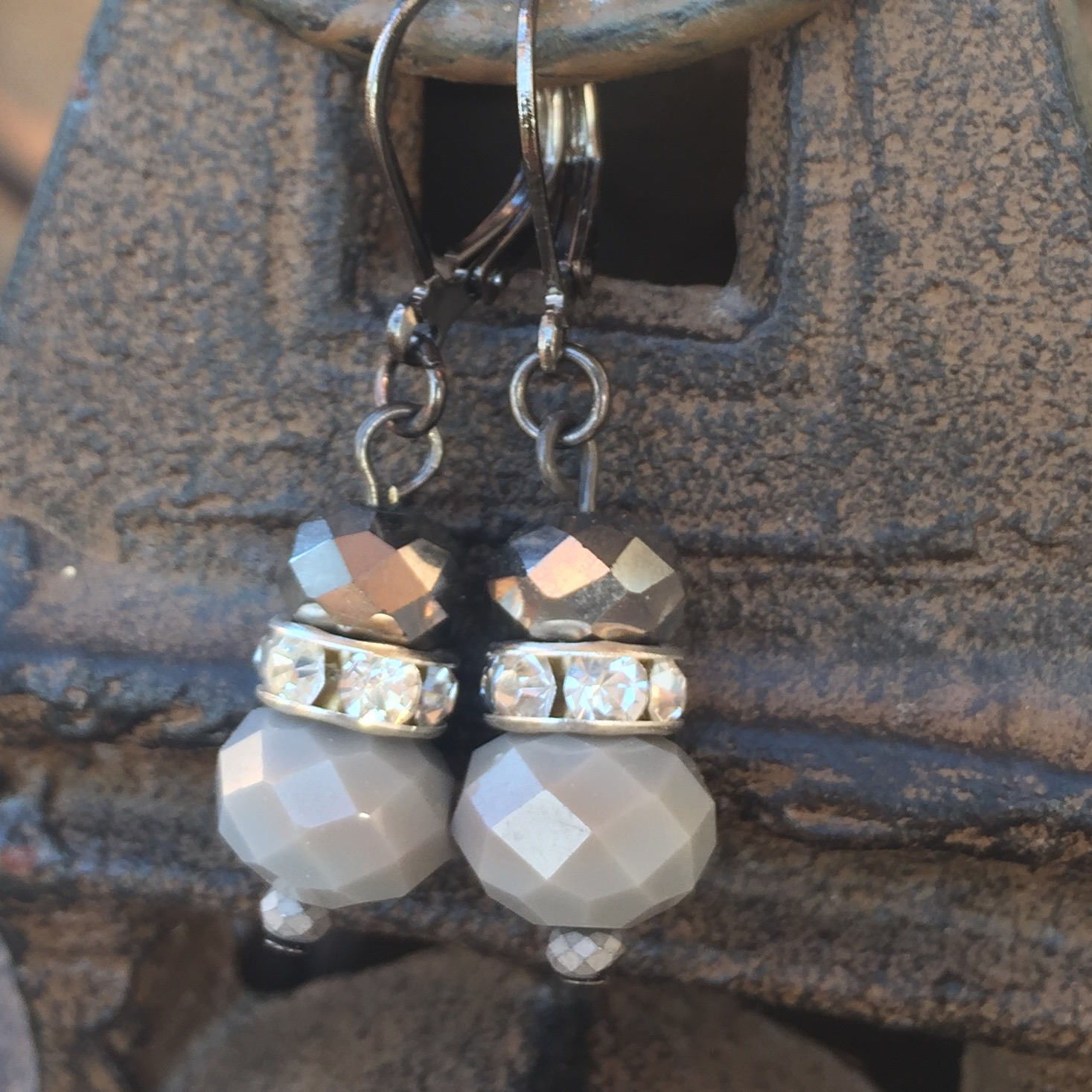 Silver Grey Opaque crystal black LB earrings