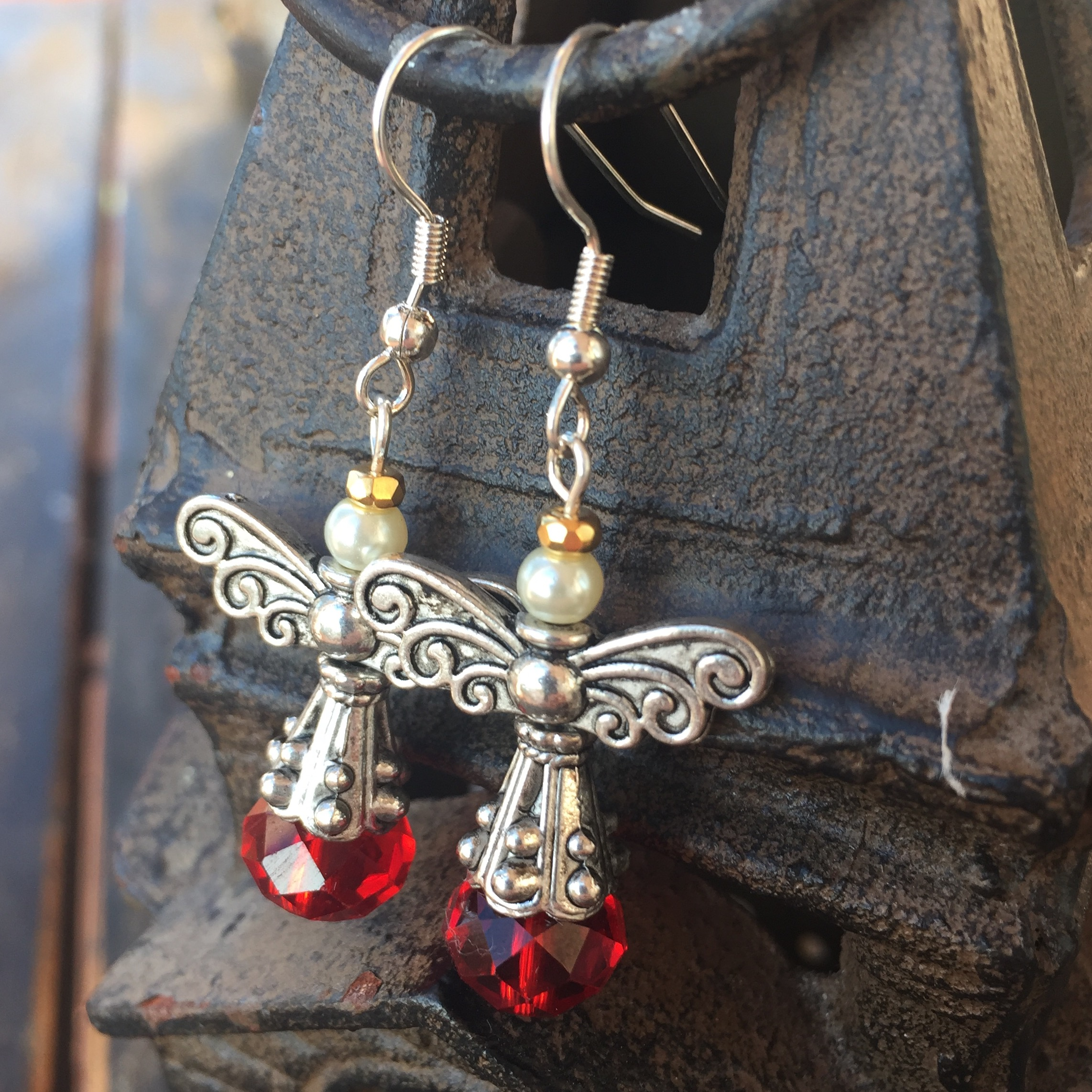 Heaven and Nature Sing Red Crystal Silver Pewter Angel Earrings