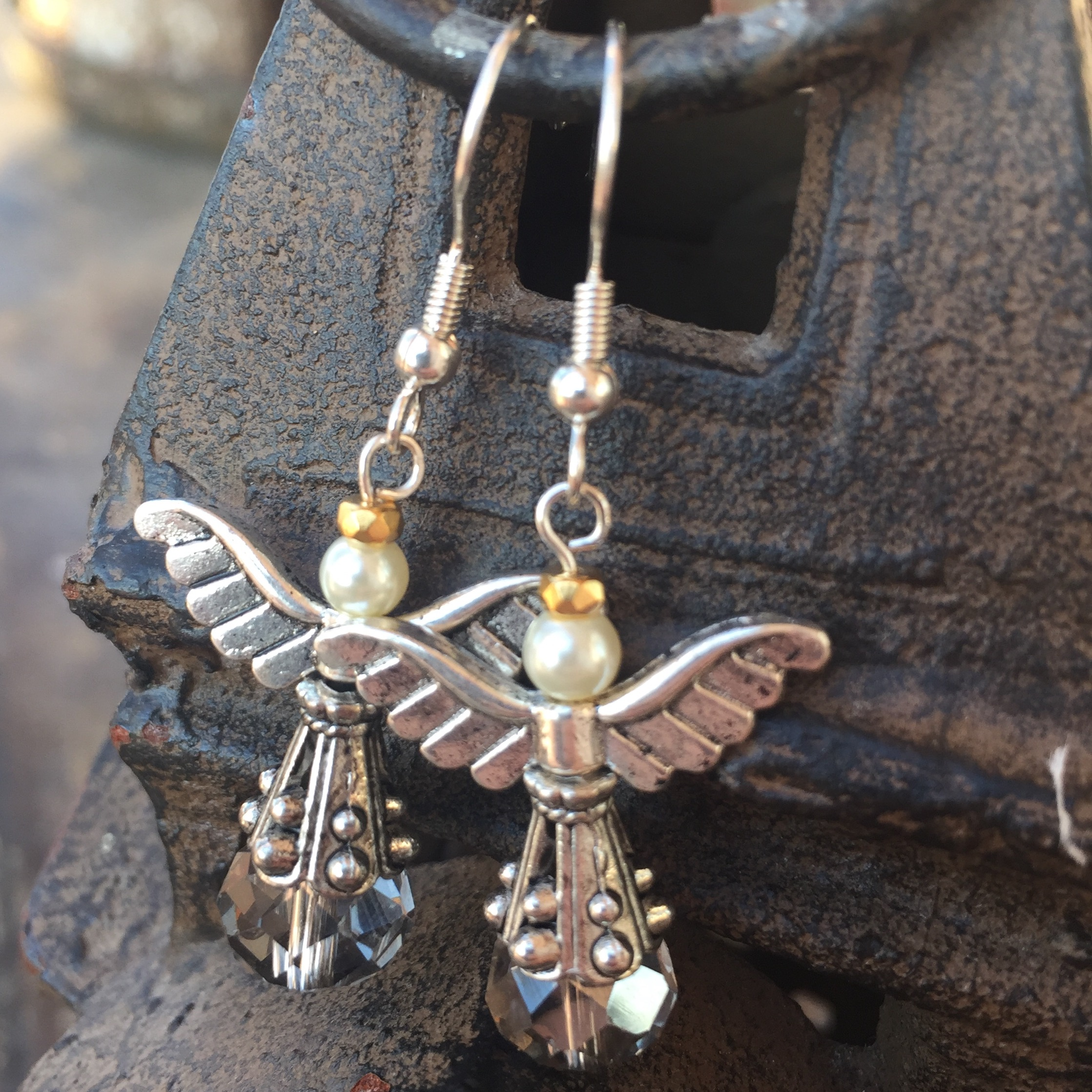 Heaven and Nature Sing Red Crystal Silver Gray Angel Earrings