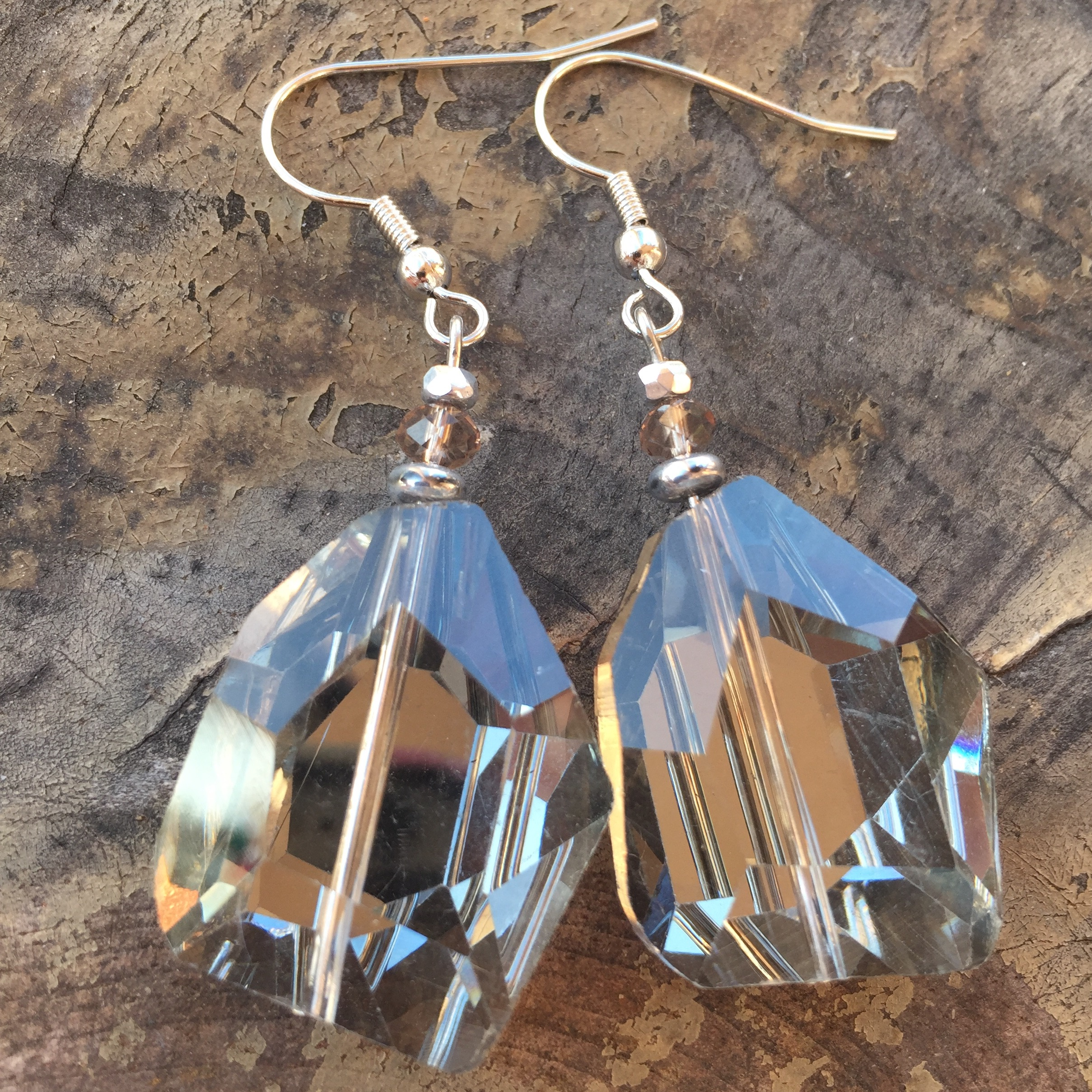 Vintage Romance ~ Smokey Grey Crystal Quartz Silver  Earrings