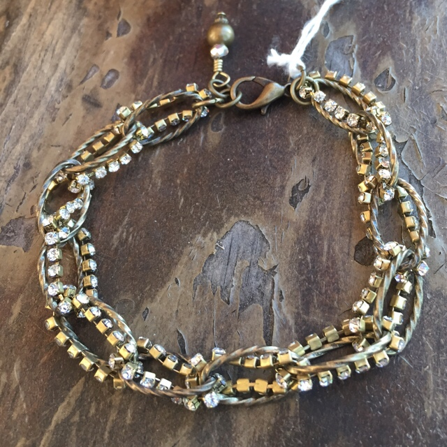 Crystal gold brass chain link fancy bracelet