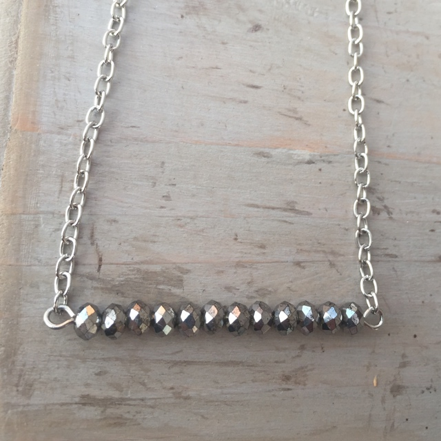 Silvery Crystal Bar Necklace