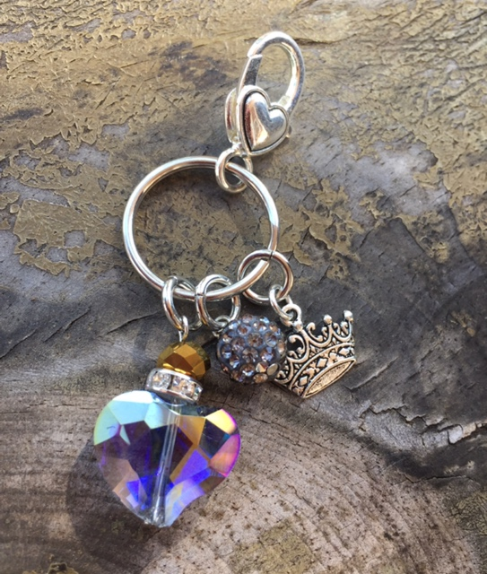 Queen For the Day - Crystal Heart Pave Key Charm