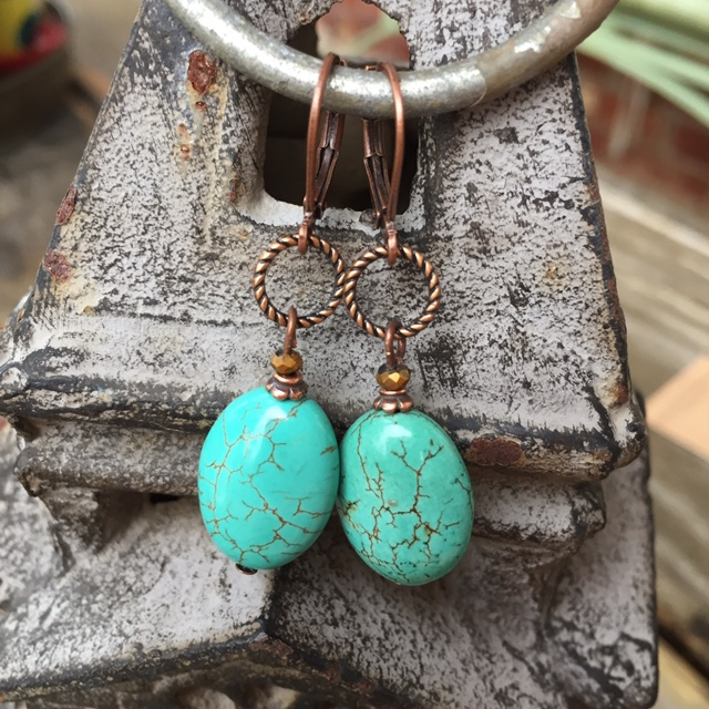 Copper Blue Turquoise Gemstone LB Earrings