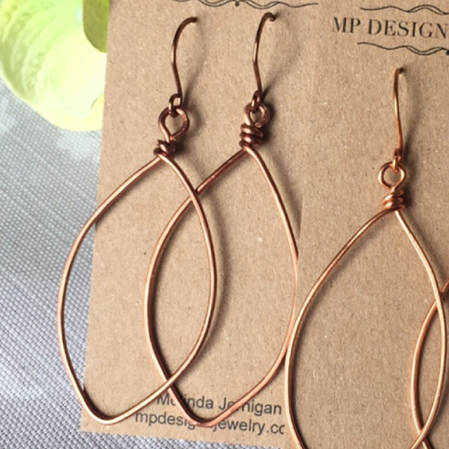Antiqued Bronze Leaf Wire Artisan Earrings