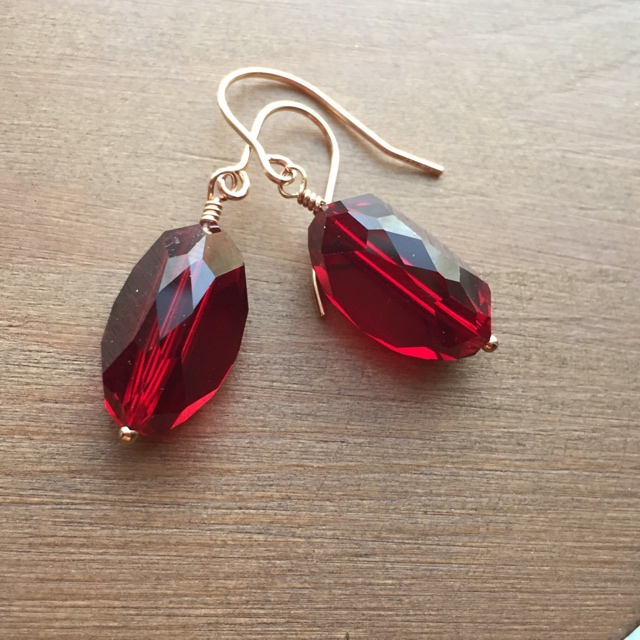 Vintage Holiday Swarovski Red Crystal Rose Gold Earrings