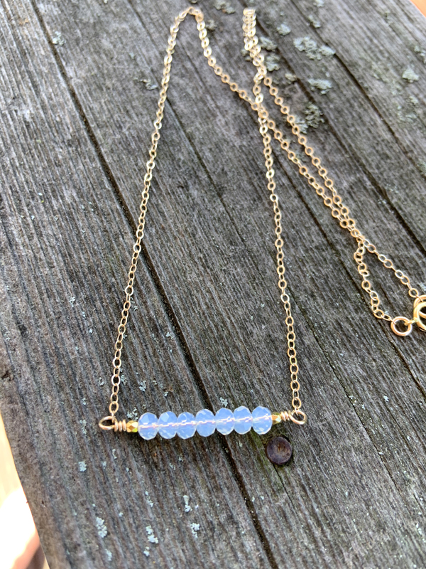 Swarovski Opal Crystal Gold Bar Necklace