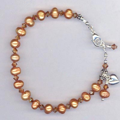 copper pearl crystal Bracelet